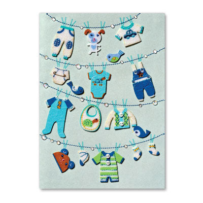 Clothesline New Baby Boy Card