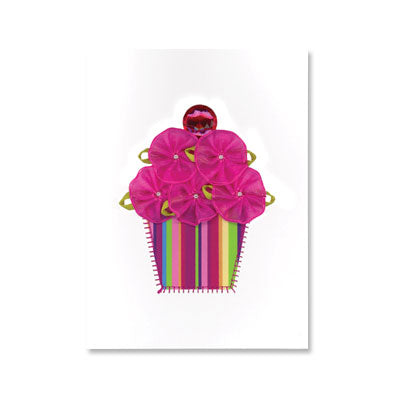 Fabric Flower Cupcake Birthday Card