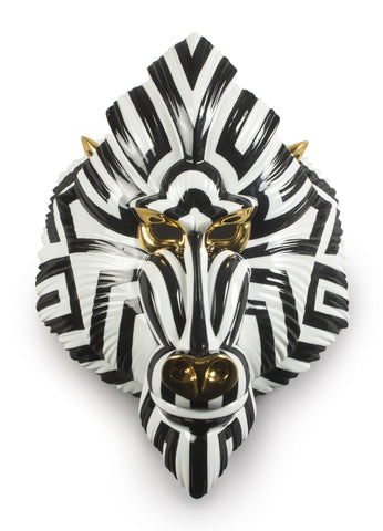 Mandrill Mask. Black and  Gold