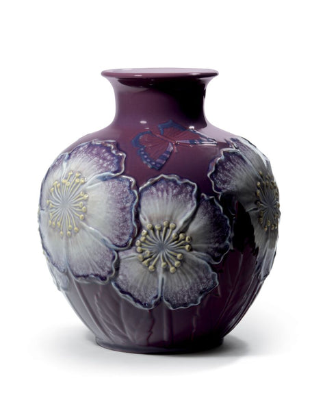 Lladro Poppy flowers vase (purple) Dalmazio Design