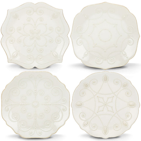 Lenox French Perle White™ 4-piece Assorted Dessert Plate Set Dalmazio Design