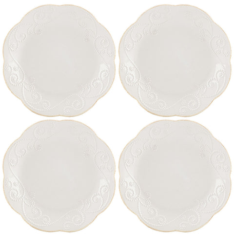 Lenox French Perle White™ 4-piece Dessert Plate Set Dalmazio Design