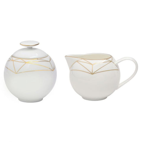 Gem Cut Gold Sugar & Creamer Set