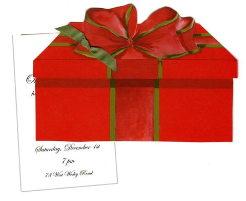 Gift Box w/ Green Ribbon Personalized Holiday Card/ Invitation (Set of 50)