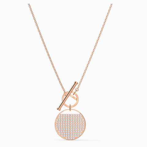 Dalmazio Design - Swarovski Ginger T Bar Necklace, White, Rose-Gold Tone Plated