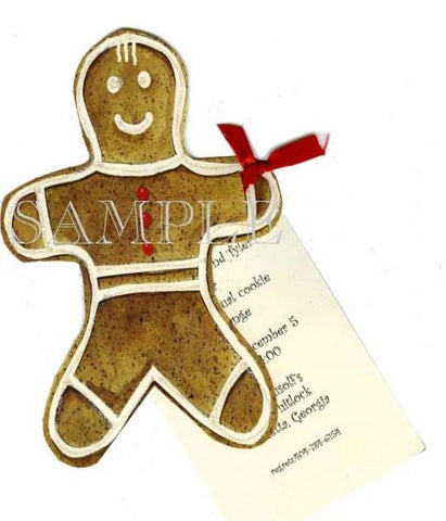 Ginger Bread Man w/ Red Ribbon Personalized Holiday Card/ Invitation (Set of 50)