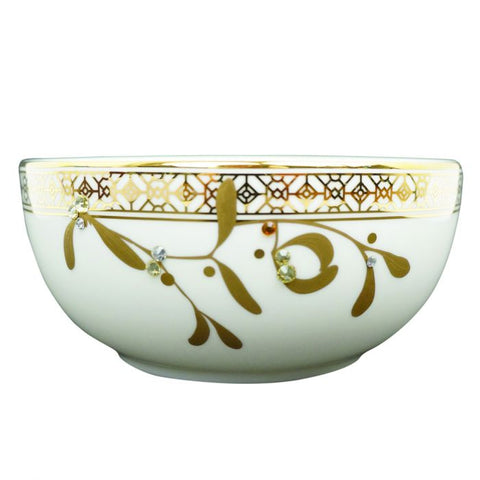 Golden Leaves Fruit/Dessert Bowl, Gold