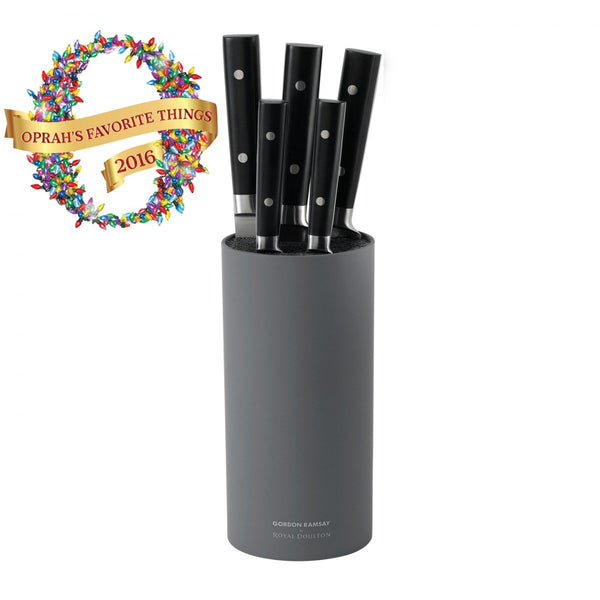 Royal Doulton Kitchen Black 6-Piece Knife Block Set Dalmazio Design