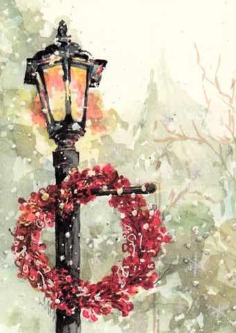 Lamplight Flurry Personalized Christmas Cards (Set of 50)
