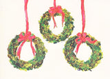 3 Box Wreaths Unprinted Christmas Cards (Set of 100)