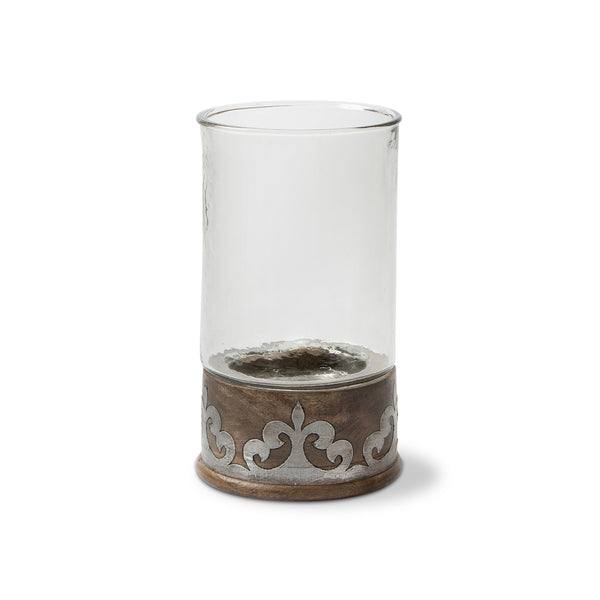 "12.5""H Wood Metal Candleholder"