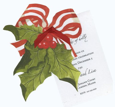 Holly w/ Red Ribbon Personalized Holiday Card/ Invitation (Set of 50)