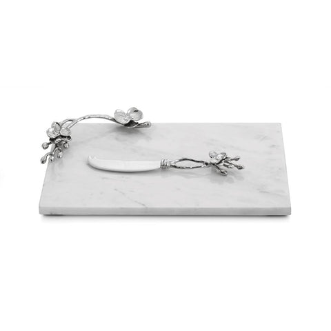White Orchid Small Cheese Board w/ Knife