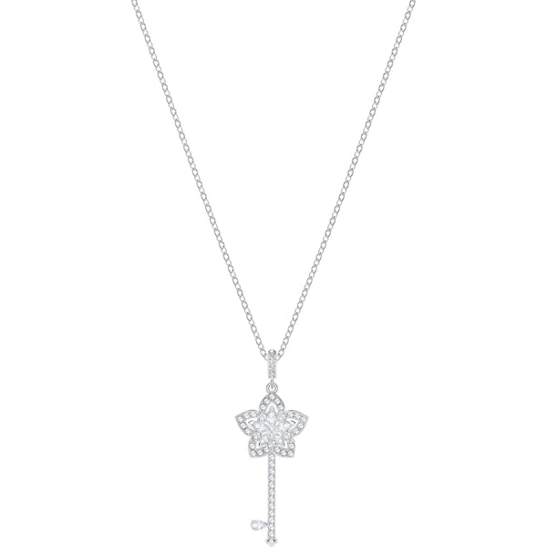 Swarovski Channel a timeless and romantic vibe with the Lady Key Pendant. An ideal Valentine's or Mother's Day gift&#44; it is inspired by flowers and fine jewelry. The delicate design combines classic white sparkle with rhodium plating. A great choice for work&#44; leisure&#44; or special occasions&#44; the pendant comes on a chain.<br><br><i>Dimensions:</i><br>Length: 16 1/2 inch<br>Pendant size: 5/8x1 3/8 inches Dalmazio Design