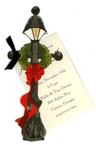 Lamp Post w/ Black Ribbon Personalized Holiday Card/ Invitation (Set of 50)