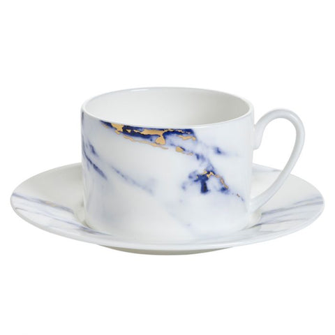 Marble Azure Tea Cup & Saucer