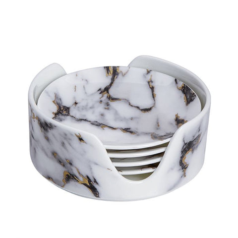 Marble Coaster in Holder (Set of 4), Venice Fog