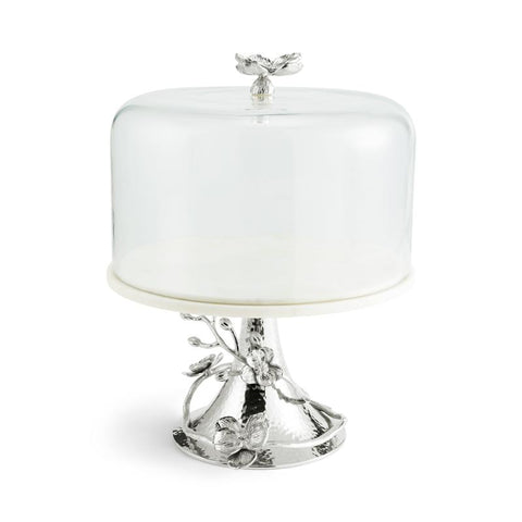 White Orchid Cake Stand w/ Dome