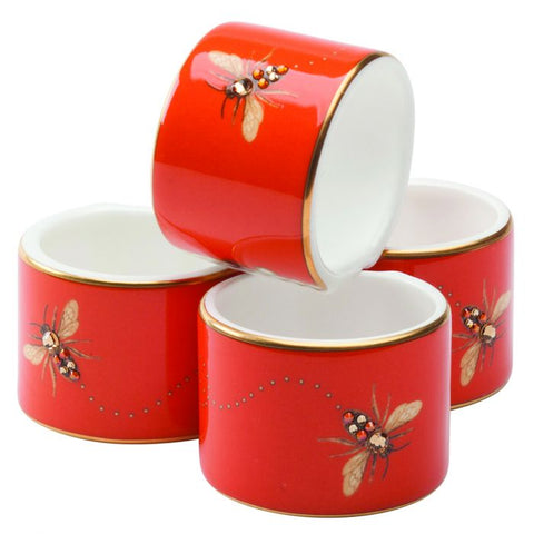 My Honeybee Napkin Ring | Set Of 4, Gold-Orange