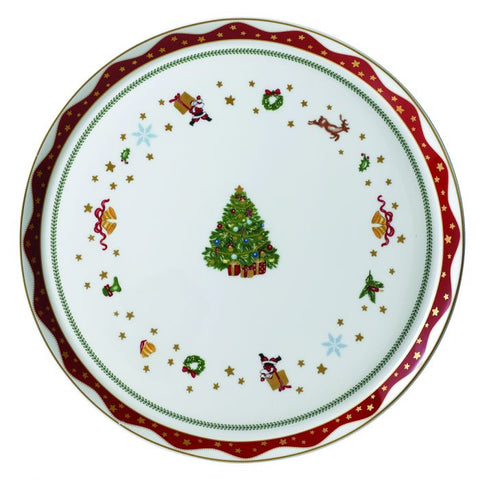 My Noel Round Cake / Serving Platter with Rim