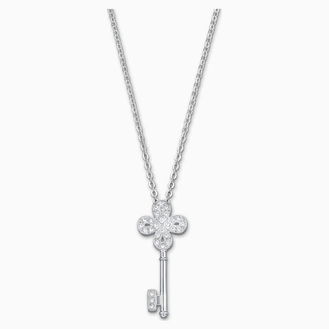 Noble Key Pendant, White, Rhodium Plated