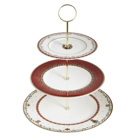 Nutcracker 3-Tier Cake Stand, Gold Rim