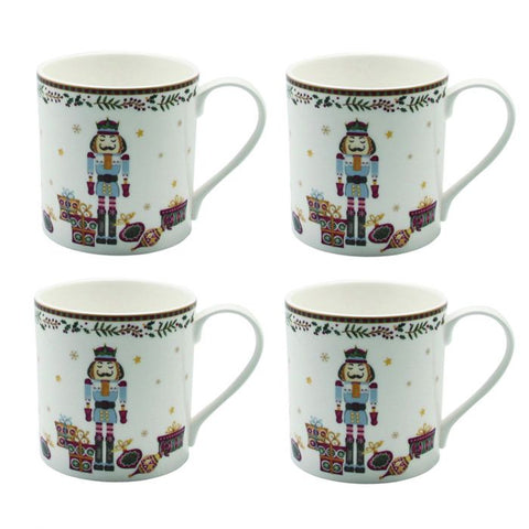 Nutcracker Mug (Set of 4), Gold Rim