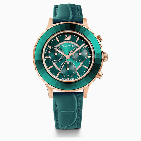 Swarovski Octea Lux Chrono Watch; Leather Strap; Green; Rose-Gold Tone Pvd Dalmazio Design