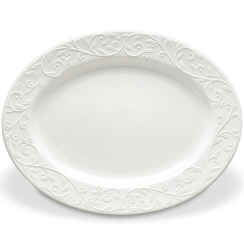 "Lenox Opal Innocence Carved™ 16"" Oval Serving Platter Dalmazio Design"