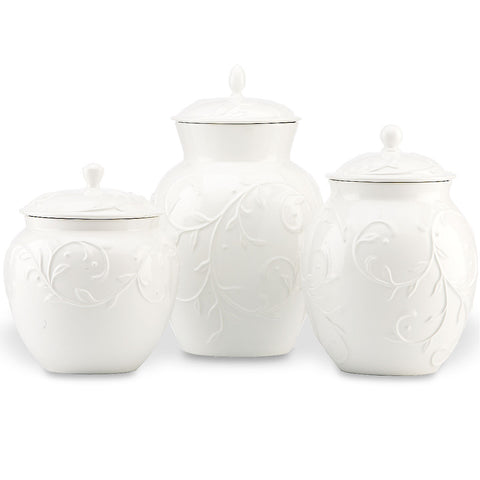 Lenox Opal Innocence Carved™ 3-piece Canister Set Dalmazio Design