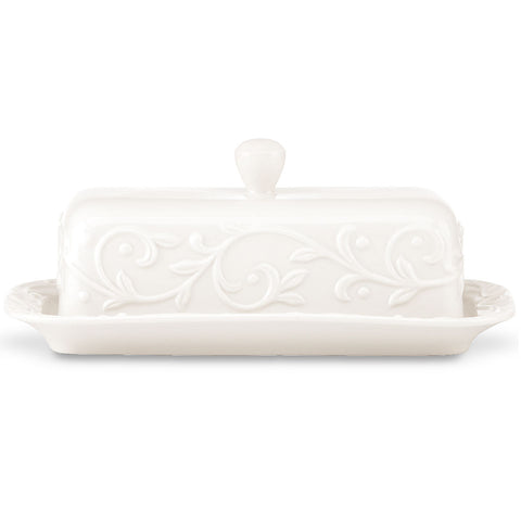 Lenox Opal Innocence Carved™ Covered Butter Dish Dalmazio Design