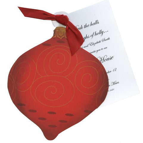 Ornament w/ Swirls Personalized Holiday Card/ Invitation (Set of 50)