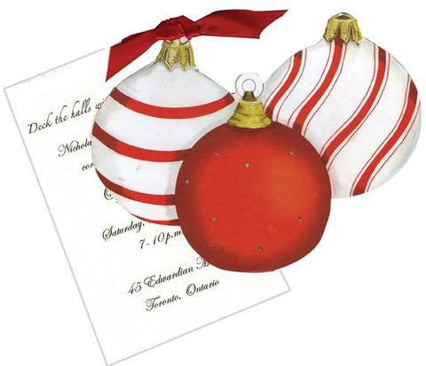 Three Ornaments w/ Wide Red Ribbon Personalized Holiday Card/ Invitation (Set of 50)