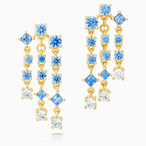 Dalmazio Design - Swarovski Penélope Cruz Icons Of Film Chandelier Pierced Earrings, Blue, Gold-Tone Plated