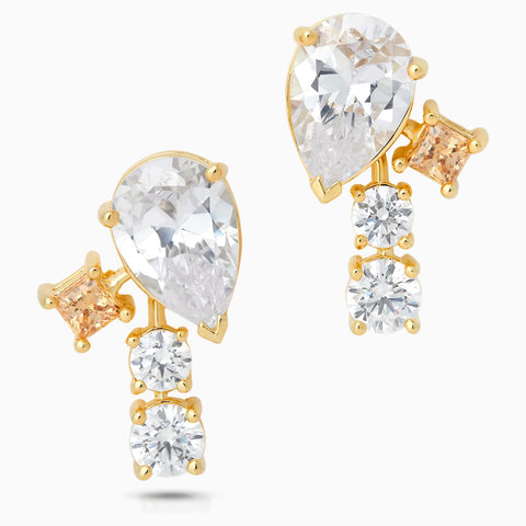 Dalmazio Design - Swarovski Penélope Cruz Icons Of Film Stud Pierced Earrings, Yellow, Gold-Tone Plated