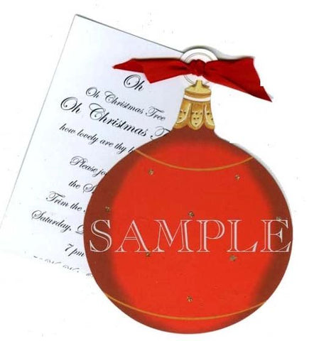 Red Ornament Personalized Holiday Card/ Invitation (Set of 50)