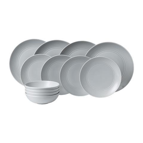 Maze Light Grey 12-Piece Dinner Set