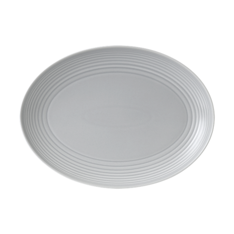 Maze Light Grey Oval Platter