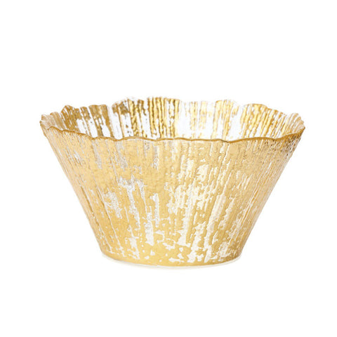 Vietri Rufolo Glass Gold Small Deep Bowl Dalmazio Design