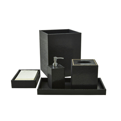 Bath Set (5pc Set), Black, With Crystal