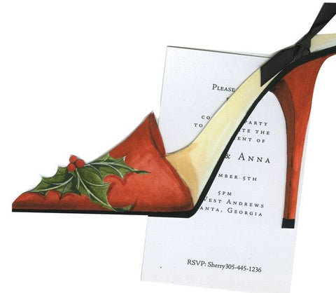 Holiday Shoe w/ Ribbon Personalized Holiday Card/ Invitation (Set of 50)