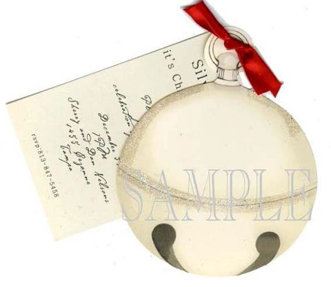 Silver Bell w/ Red Ribbon Personalized Holiday Card/ Invitation (Set of 50)