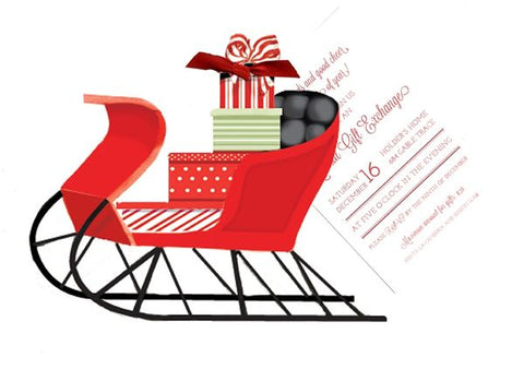 Red Sleigh With Packages Personalized Holiday Card/ Invitation (Set of 50)