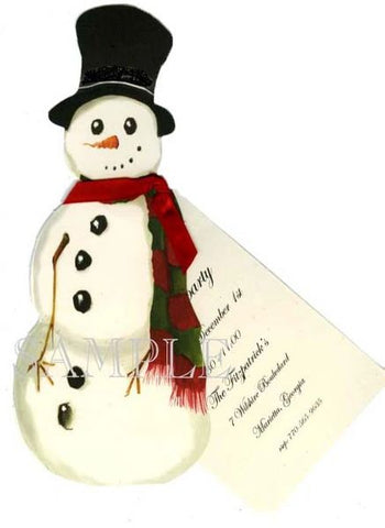 Snowman w/ Red Ribbon Personalized Holiday Card/ Invitation (Set of 50)