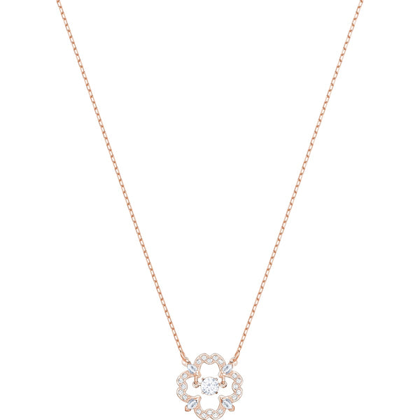 Swarovski Feel beautiful and elegant in this necklace&#44; inspired by the idea of a 'dancing crystal'. The design features a sparkling stone that floats inside a cage. Plated in rose gold&#44; classic pavé shines in a floral motif to lend playful glamour for daytime style. A lovely gift for Mother's Day.<br><br><i>Dimensions:</i><br>Length: 14 7/8 inches Dalmazio Design
