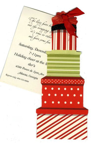 Stacked Gifts w/ Red Ribbon Personalized Holiday Card/ Invitation (Set of 50)
