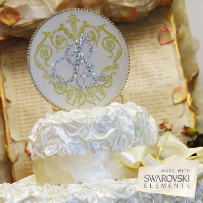 "Cake Topper Swarovski Plaque - 6"" Round Vintage Motif Gold Personalized Initial"