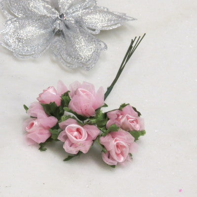 Floral Accent Satin Rose with Pink Tulle Set of 6