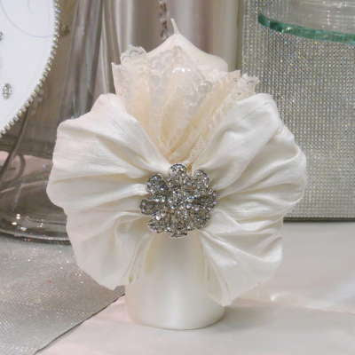 Pillar Candle With Silk and Lace Bow and Crystal Brooch