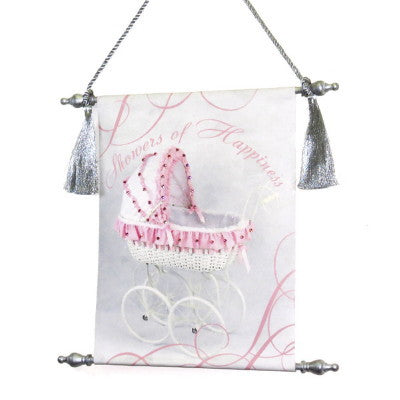 Canvas Keepsake Scroll - Showers of Happiness Pink Carriage